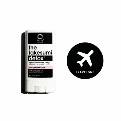 cold pressed rose charcoal deodorant travel size - kaia naturals