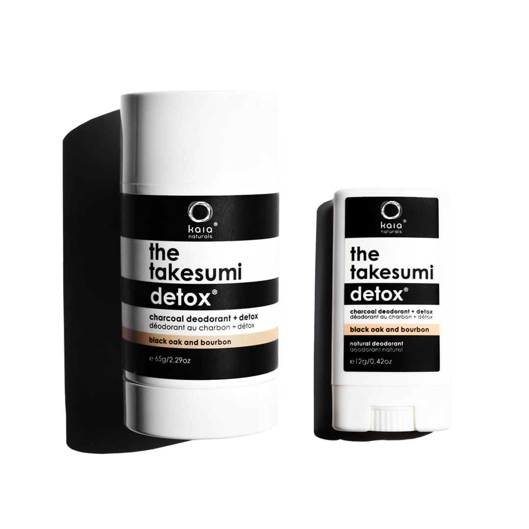 black oak and bourbon full size and travel size charcoal deodorant