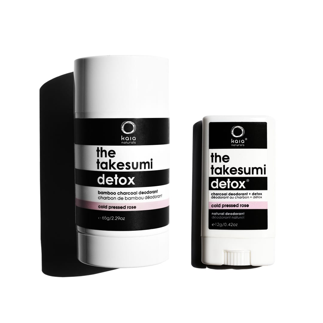 cold pressed rose full size and travel size charcoal deodorant
